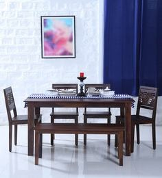 Alder Six Seater Dining Set With Bench In Provincial Teak Finish