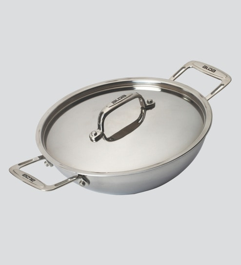 Buy Alda Tri Ply Stainless Steel Wok Pan Or Kadhai With Lid 20 Cm