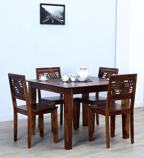 Alder Solid Wood Four Seater Dining Set In Provincial Teak Finish By  Woodsworth