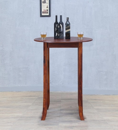 Buy Alder Round High Dining Table In Honey Oak Finish By Woodsworth