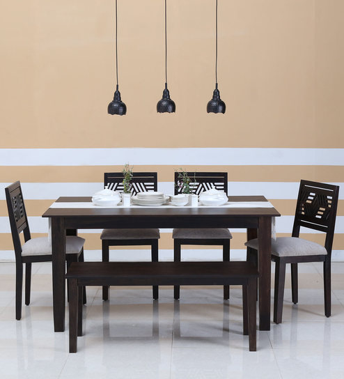 Alder Six Seater Cushioned Dining Set with Bench in Warm Chestnut Finish by Woodsworth