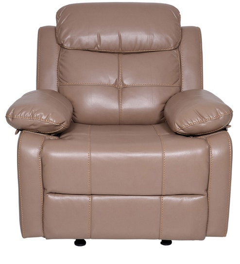 Alex One Seater Recliner Sofa (with Glider) in Camel Colour by Evok
