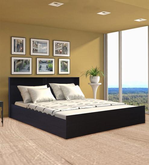 Buy Alex Queen Bed With Box Storage In Dark Walnut By Hometown