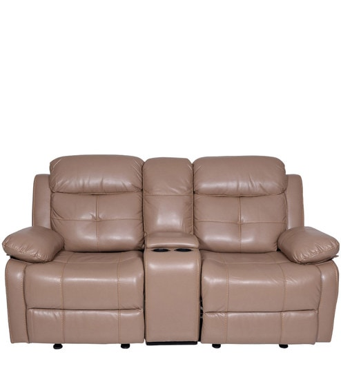 Buy Alex Two Seater Recliner Sofa With Glider In Camel Colour By