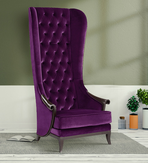 Alexis Premium High Back Arm Chair In Purple By Dreamzz Furniture