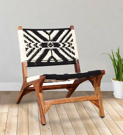 Alfa Solid Wood Accent Chair In Black White Color By Hometown