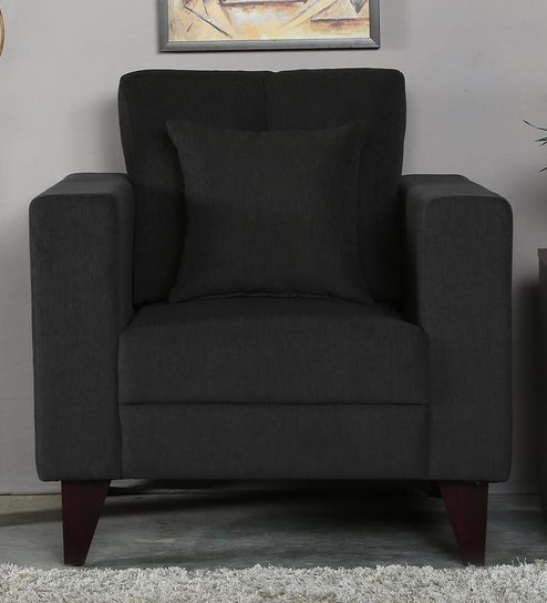 Alfredo One Seater Sofa in Charcoal Grey Colour by CasaCraft