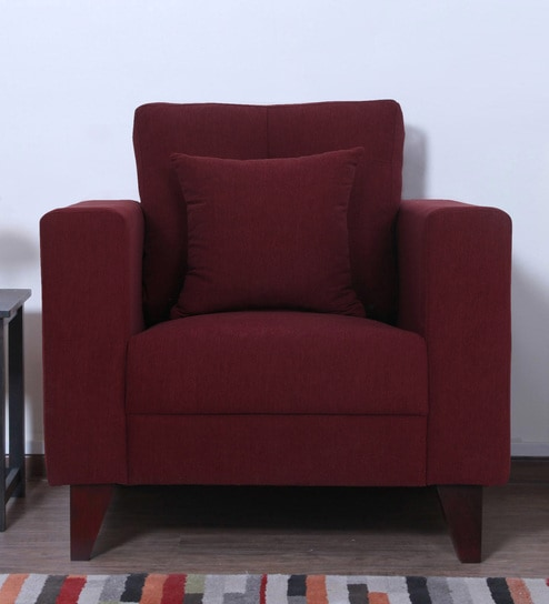 Alfredo One Seater Sofa in Garnet Red Colour by CasaCraft