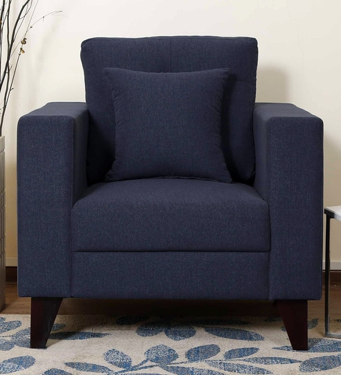 Alfredo One Seater Sofa in Navy Blue Colour by CasaCraft