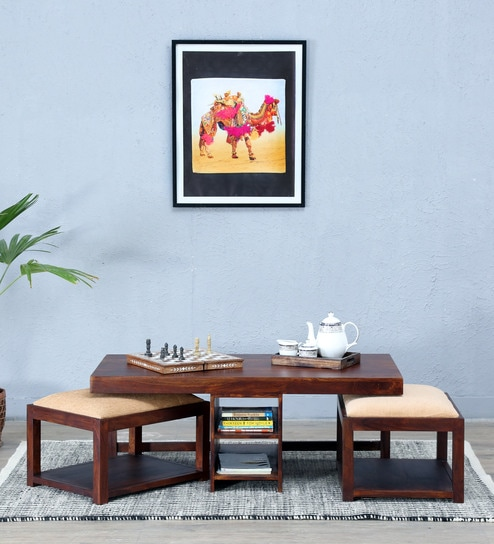 Algona Coffee Table Set with Two Stools in Honey Oak Finish by Woodsworth