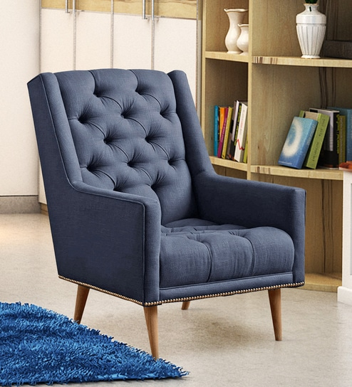 Alicia Modern Tufted Chair In Blue Colour By Dreamzz Furniture