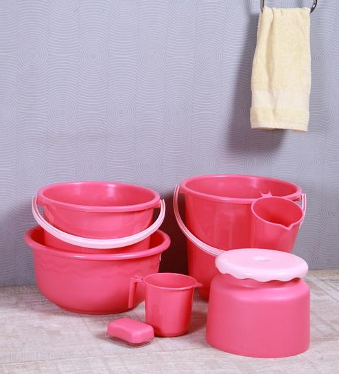 All Time Plastic Pink Bathroom Set - Set of 7