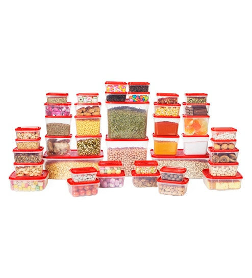 All Time Polka Red Rectangle Storage Container - Set of 42