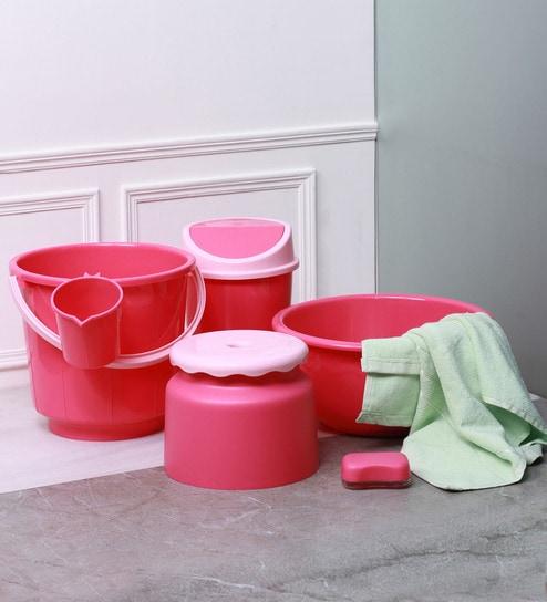 All Time Super Deluxe Virgin Plastic Pink Bathroom Set - Set of 6