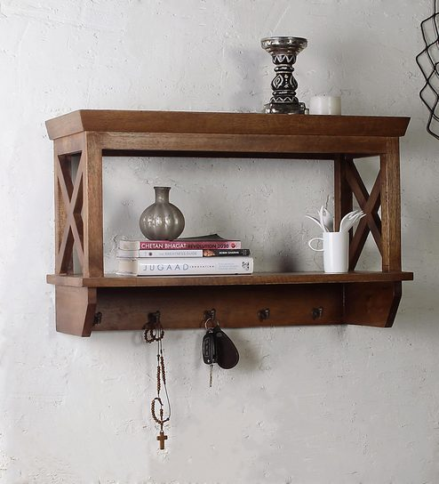 6541fbf7d Buy Alonza Solid Wood Wall Shelf with Hooks by Fabuliv Online - Eclectic Wall  Shelves - Eclectic Wall Shelves - Wall Art - Pepperfry Product
