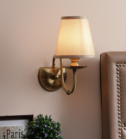 Cream Paper Cloth Wall Mounted Wall Light by Aesthetic Home Solutions