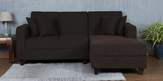Alba LHS Two Seater Sofa with Lounger and Cushions in Chestnut Brown Colour by CasaCraft