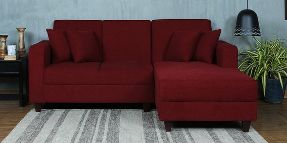 Alba LHS Two Seater Sofa with Lounger and Cushions in Garnet Red Colour by CasaCraft