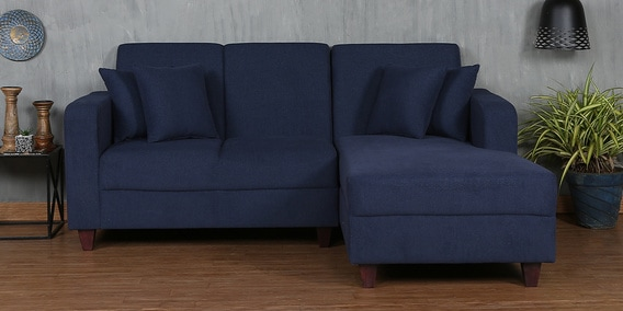 Alba LHS Two Seater Sofa with Lounger and Cushions in Navy Blue Colour by CasaCraft