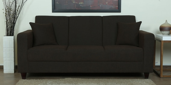 Alba Three Seater Sofa in Chestnut Brown Colour by CasaCraft