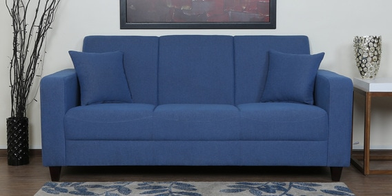 Alba Three Seater Sofa in Denim Blue Colour by CasaCraft