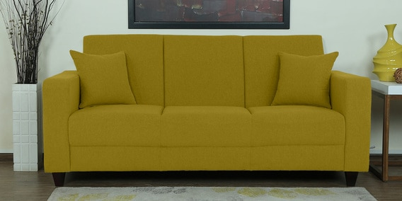 Alba Three Seater Sofa In Olive Green Colour By Casacraft