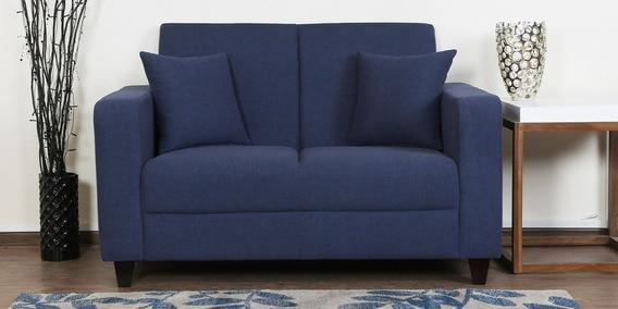 Alba Two Seater Sofa In Navy Blue Colour