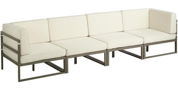 Albert Four Seater Modular Sofa In White Colour By Asian Arts
