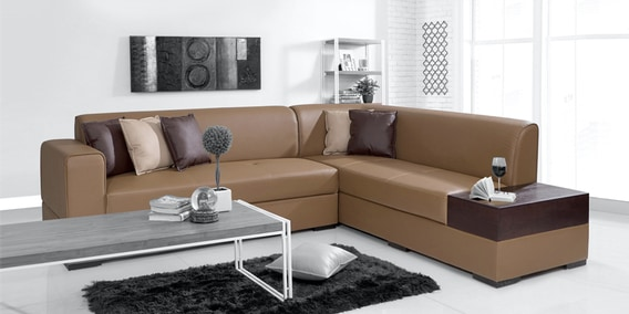 Buy Alden Lhs Sectional Sofa In Tan Brown Colour By Evok Online Modern Corner Sofas Sectional Sofas Furniture Pepperfry Product
