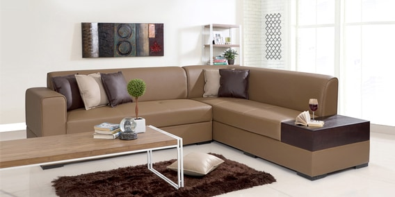 Buy Alden Lhs Sectional Sofa In Tan Brown Leatherette By Evok