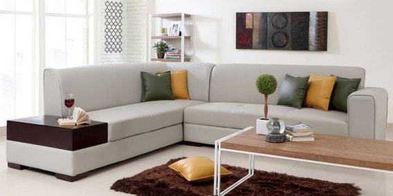 Buy Alden Rhs Sectional Sofa In Light Grey Leatherette By Evok