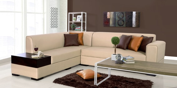 separation shoes 2c7ec 017b0 Alden RHS Sectional Sofa in Light Brown Leatherette by Evok