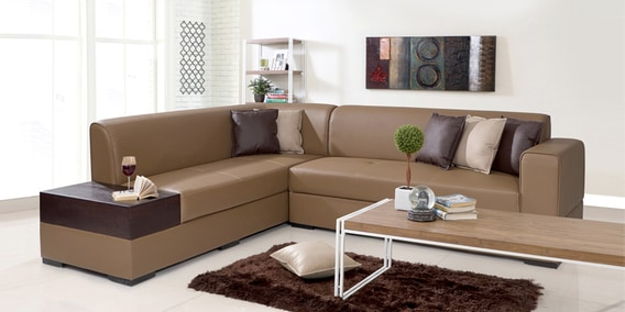 Buy Alden Rhs Sectional Sofa In Tan Brown Leatherette By Evok