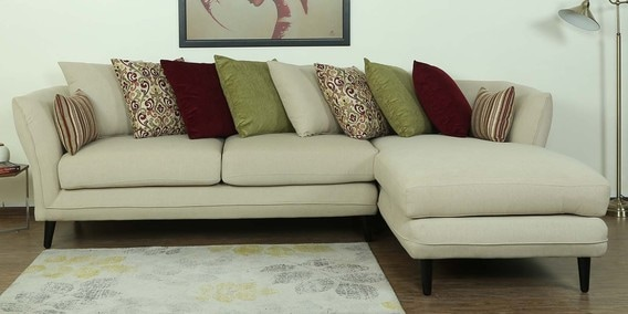Aleandro LHS Three Seater Sofa with Lounger & Cushions in Beige Colour by CasaCraft