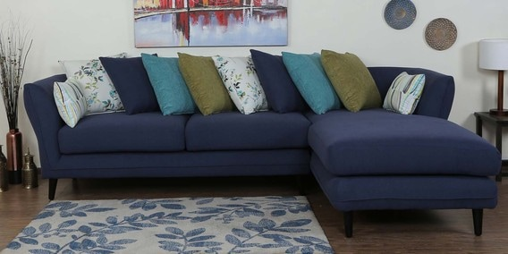 Aleandro LHS Three Seater Sofa with Lounger & Cushions in Navy Blue Colour by CasaCraft