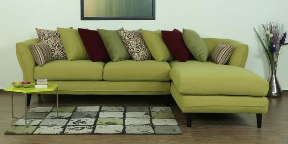 Aleandro LHS Three Seater Sofa with Lounger & Cushions in Olive Green Colour by CasaCraft
