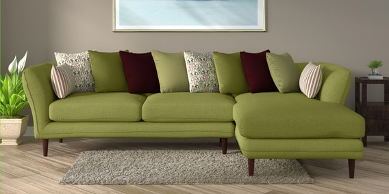 save off 679a5 aed73 Aleandro 3 Seater LHS Sectional Sofa in Olive Green Colour by CasaCraft
