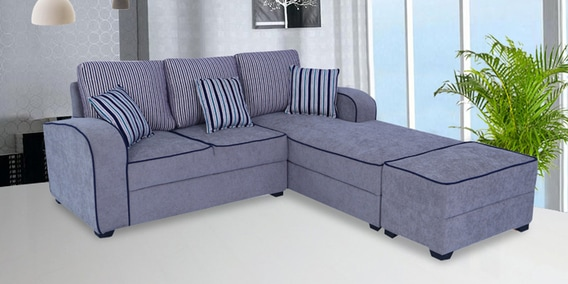 Buy Alex LHS Sectional Sofa With Ottoman and Cushions In Grey Colour ...
