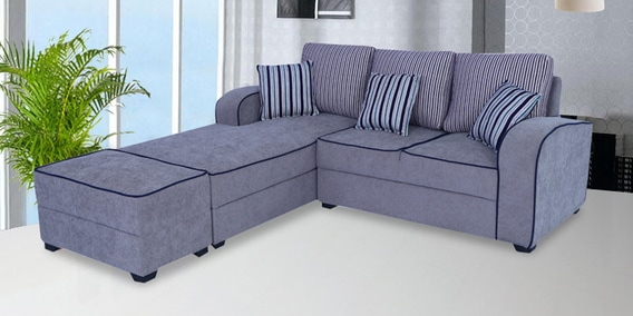 Buy Alex RHS Sectional Sofa With Ottoman And Cushions In Grey Colour ...