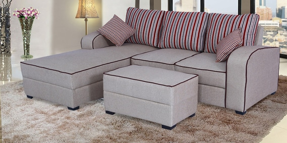 Buy Alex RHS Sectional Sofa With Ottoman And Cushions In Light Brown ...