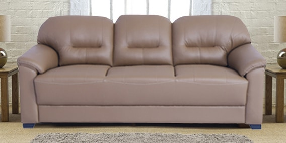 Buy Croma Three Seater Sofa In Tan Brown Leatherette By Muebles Casa