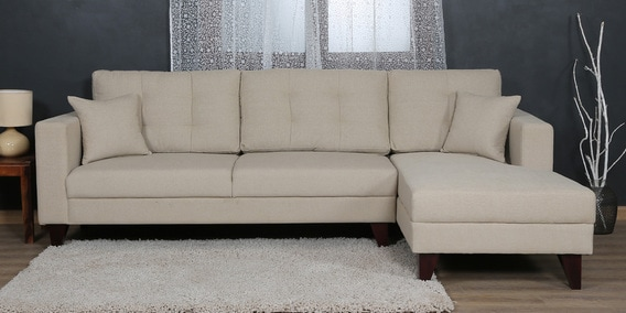 Buy Alfredo Lhs Three Seater Sofa With Lounger And Cushions In Beige