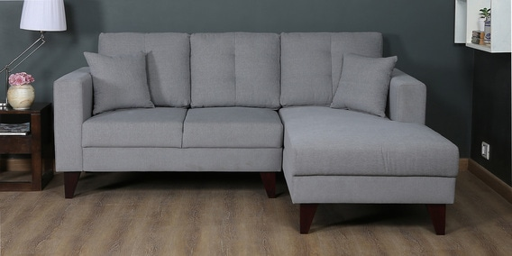 Alfredo LHS Two Seater Sofa with Lounger and Cushions in Ash Grey Colour by CasaCraft