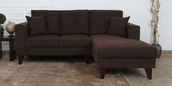 Alfredo LHS Two Seater Sofa with Lounger and Cushions in Chestnut Brown Colour by CasaCraft