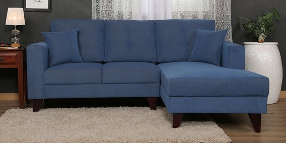 Alfredo LHS Two Seater Sofa with Lounger and Cushions in Denim Blue Colour by CasaCraft