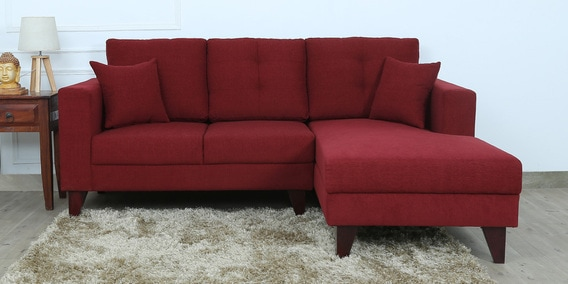 Alfredo LHS Two Seater Sofa with Lounger and Cushions in Garnet Red Colour by CasaCraft