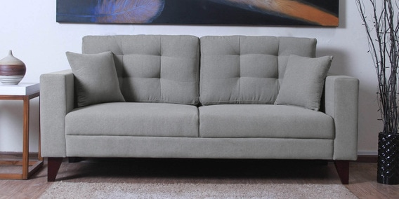 Alfredo Three Seater Sofa in Ash Grey Colour by CasaCraft