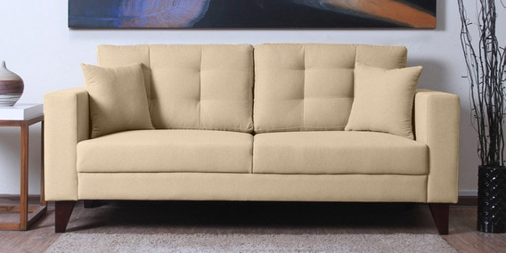Alfredo Three Seater Sofa in Beige Colour by CasaCraft