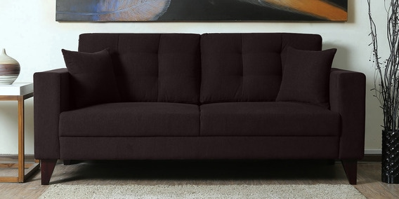 Alfredo Three Seater Sofa in Chestnut Brown Colour by CasaCraft