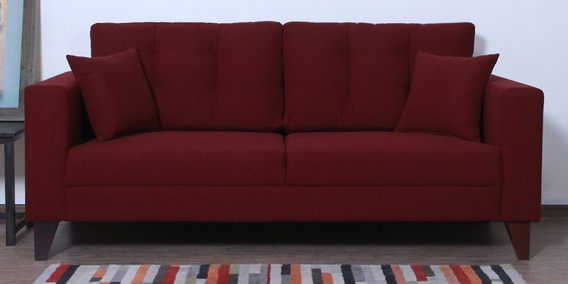 Alfredo Three Seater Sofa in Garnet Red Colour by CasaCraft